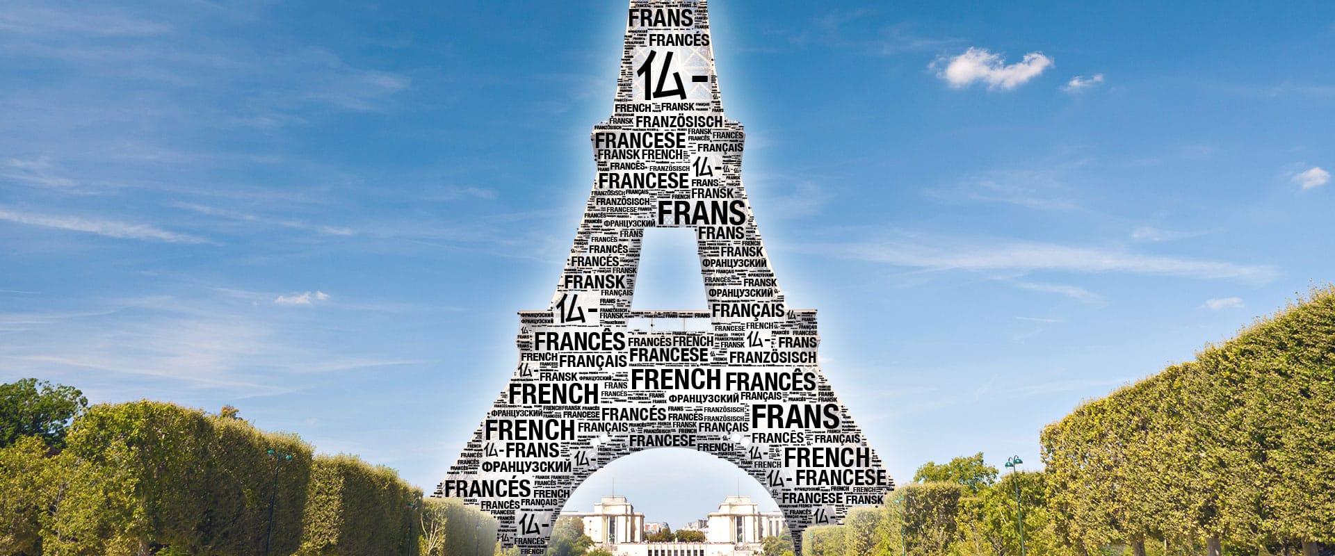 Fachübersetzungen München - Eiffelturm Wortwolke Hintergrund