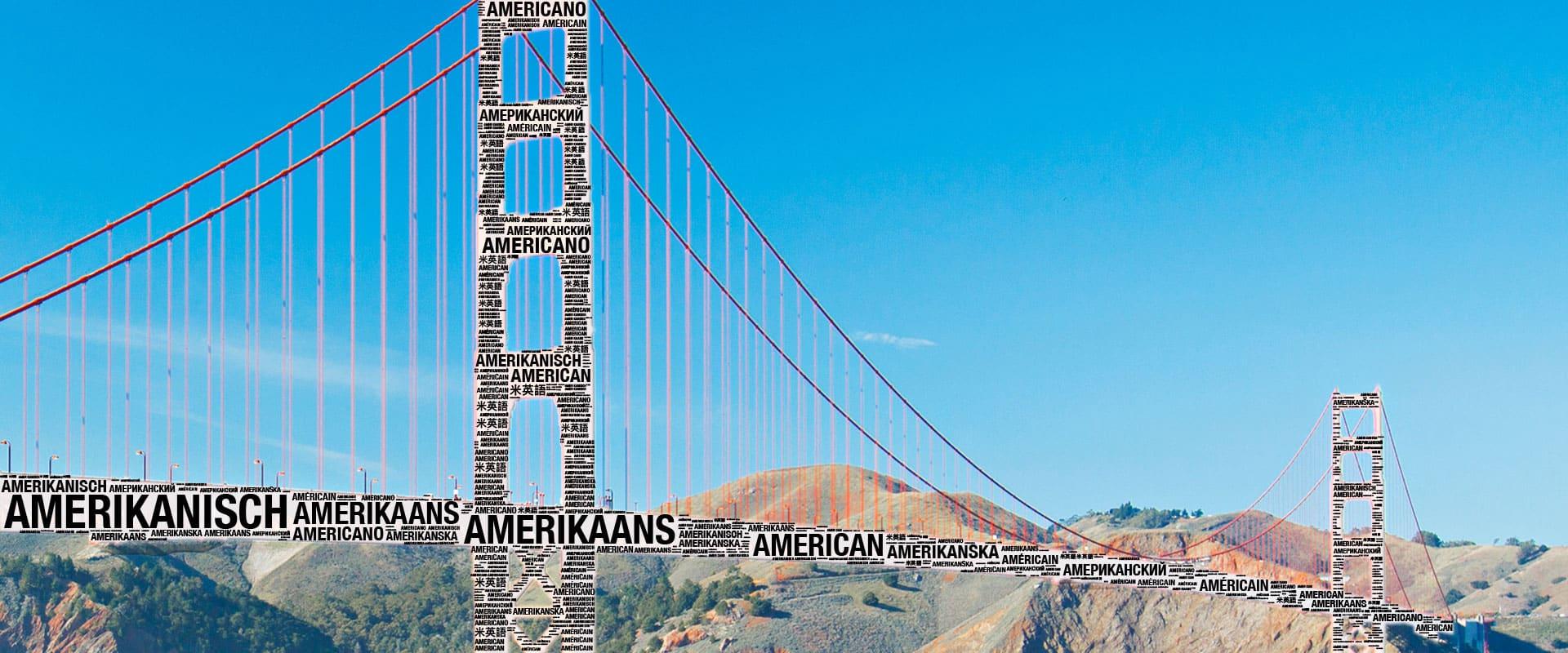 Golden Gate Wortwolke Hintergrundbild - Übersetzungsbüro